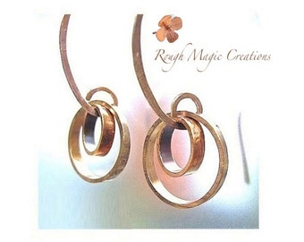 Copper Earrings, Abstract Jewelry, Rustic Primitive Metalwork, Geometric Circle Earrings, Boho Edgy Artisan Jewelry, Trendy Industrial  E279