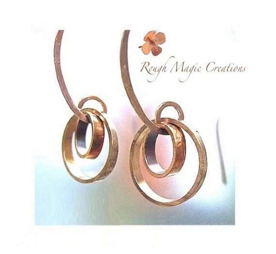 Copper Earrings. Abstract Jewelry. Rustic Primitive Metalwork. Geometric Circle Earrings. Boho Edgy Artisan Jewelry. Trendy Industrial Style