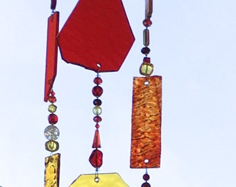 Stained Glass Suncatcher, Gold, Red and Orange Sun Catcher, Glass Mobile, Windchimes, Wind Chimes, Beaded Sun Catcher, Bead Mobile, 8240
