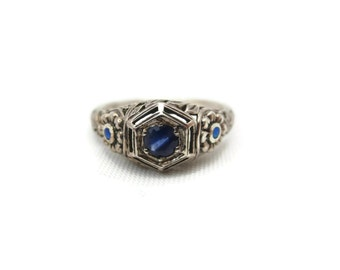 Art Deco Ring - Sapphire, Sterling Silver Filigree, Opals, September Birthstone Jewelry