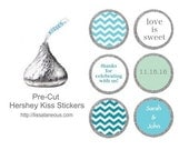 88 Hershey Kiss Labels  - Bridal Shower Favor - Aqua Mint Teal Stickers for Candy Kisses