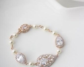 Bridal Bracelet Rose Gold Wedding Jewelry Teardrop Crystal Bracelet Wedding Gift for Her  VIVIENNE