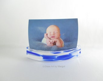 Note & Photo Holder Curve Display Blues and White Fused Art Glass