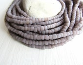 mauve grey glass seed beads,  grey purple seed beads, small rustic tube barrel spacer , New Indo-pacific 3 to 6mm / 22 inch strd - 6BB1-38