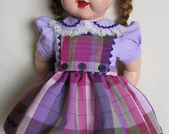 """For 22"""" Saucy Walker Doll - Dress and Three Button Pinafore, Removable Sash in Lavender, Pink, Purple & Sage"""