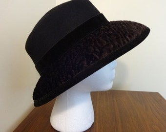 Vintage, Black, Wool Hat with Faux Lambs Wool, Trim