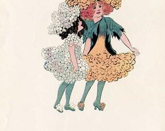 Vintage 1912 The Flower Children  Illustration Print w Verse, M T  Ross Illustration, Candytuft &  Marigold,  Original Print, Nursery Decor