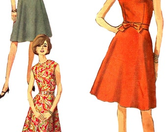 1960s Dress Pattern Jiffy Simplicity Vintage Sewing Simple to Sew Women's Misses Size 12 Bust 32 Inches