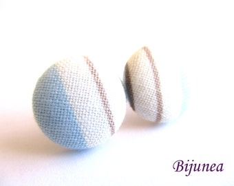 Stripe earrings - Blue stripe stud earrings - white stripes posts - Baby blue stripes post earrings sf1320