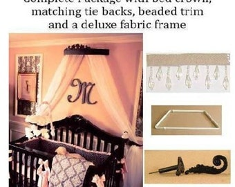 Bed  coronet crown , wall canopy, wall crown, crib bed crown, black canopy bed