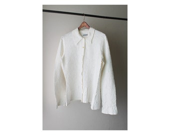 1990s YOSHIKI HISHINUMA White Paisley Wrinkle Shirt