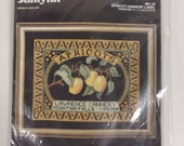 Apricot Cannery Label Janlynn Counted Cross Stitch Kit Black Aida 14 x 11 NIP