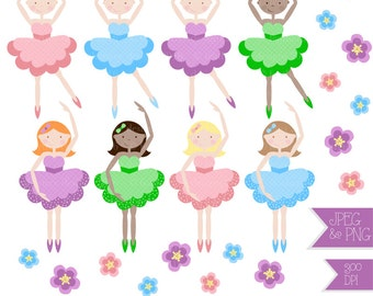 Cute 'Little Ballerinas' Clipart - High Quality - 300 dpi - JPEG & PNG files - Instant Download - Great for invitations, scrapbooking etc