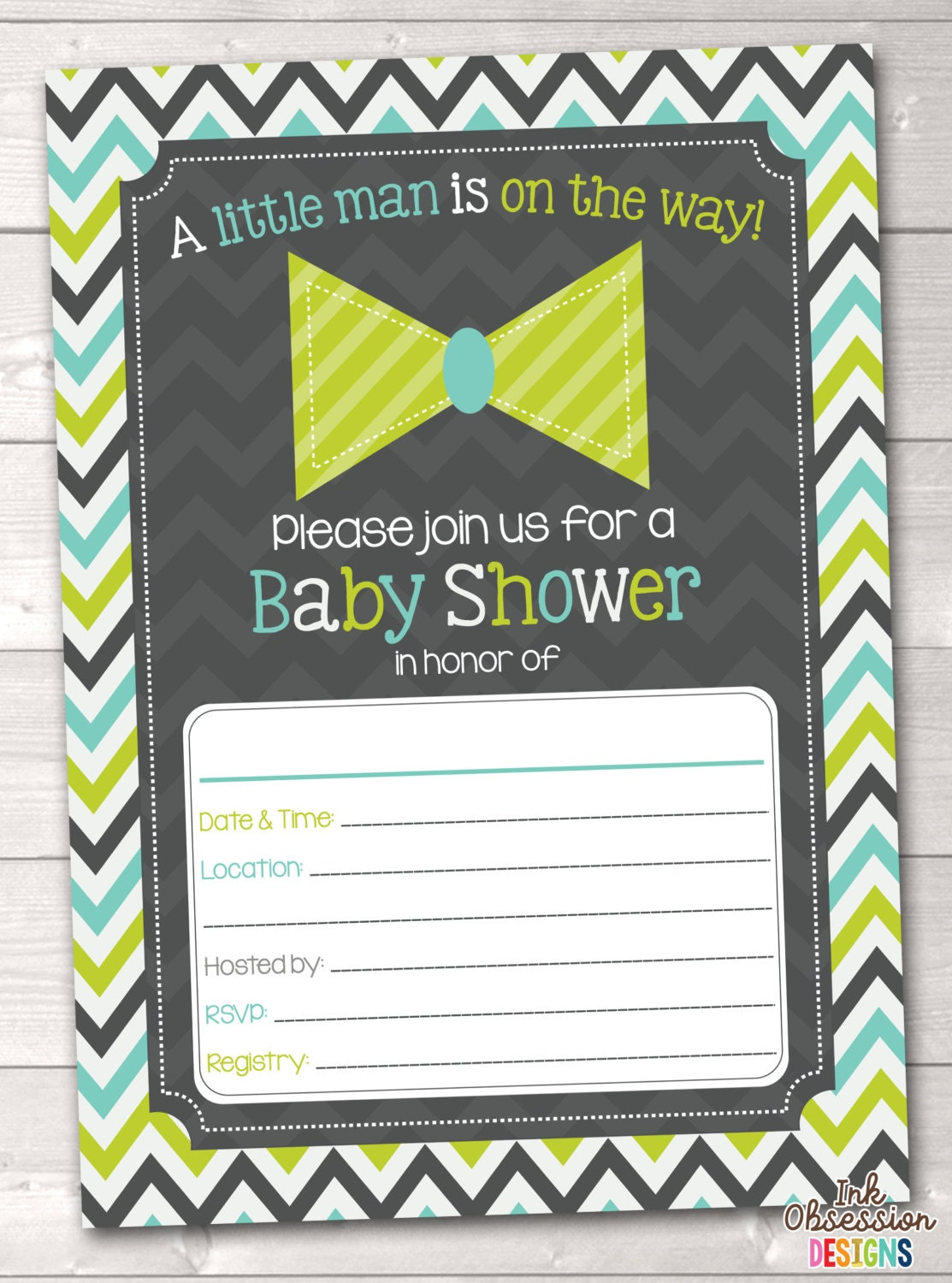 fill in little man baby shower invitations by inkobsessiondesigns