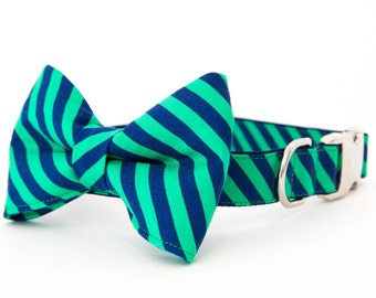 Dog Bow Tie Collar - Green and Navy Preppy Stripe