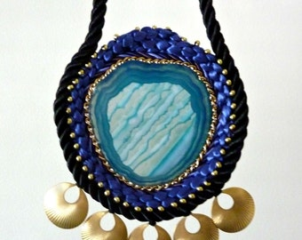 Rope Necklace. Turquoise Agate Stone. Geode Statement Necklace