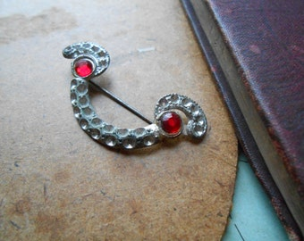art deco pot metal silver red rhinestone pin clip antique rhinestone jewelry  - costume jewelry 1940s