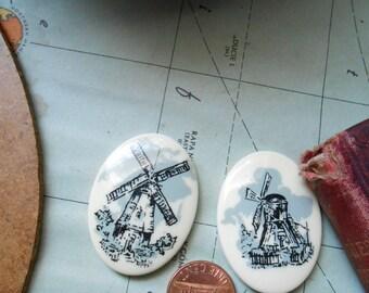 vintage windmill sketched landscape cameo cabochon - vintage plastic cameo pcs