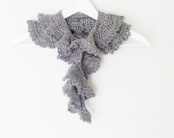 Long Heather Gray Crochet Scarf - Boa / Romantic Victorian Feminine Fashion / Soft Grey Ruffled Scarf / OOAK Gift Under 100 For Her
