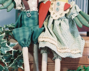 Mailed Cloth Doll Pattern  16in Pair of Love Birds