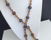 """Art Deco-CRYSTAL-Necklace-29""""- Blue & Brown- Mix-Variegated-Seed Beads-Flapper-Style-Clothing-Set-Costume-Repurpose-Craft-Collect-Vintage-"""
