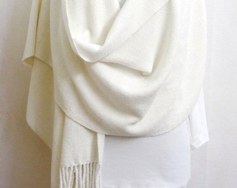 Handwoven White Chenille Shawl - Wedding Shawl - White Wedding Wrap Stole - Woven Shawl, Off White Chenille Shawl