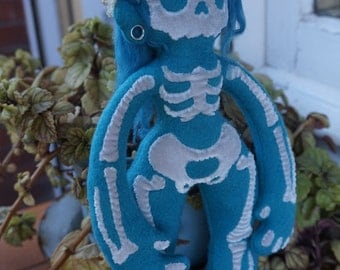 Skull Grrrl - plush - turquese and silver - One of a kind