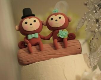 monkey wedding cake topper---k782