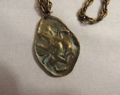 Brass Greek Pegasus Large Chunky Pendant & Necklace