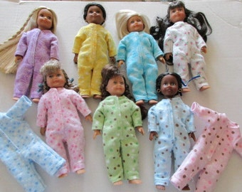 Drop-Seat Jammies, resize from LBJ and Forever 18 Inches doll pattern to fit Mini American Girl Doll