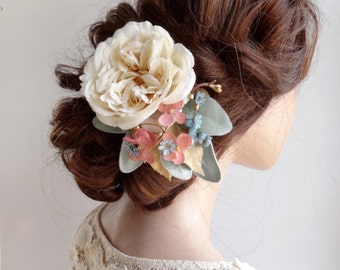 bridal hair accessories, bridal headpiece, wedding headpiece, cream hair flower, vintage style wedding, pale blue and gold, silk flower