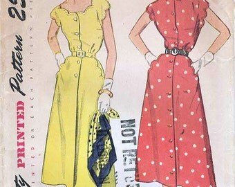 1950s Simplicity 3253 Vintage Sewing Pattern Misses Shirtwaist Dress, Spectator Dress, One Piece Dress Size 16 Bust 34