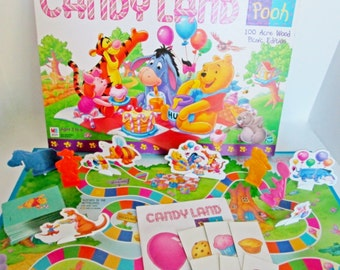 Candy Land Pooh Board Game 100 Acre Wood Picnic by Milton Bradley, Truffles Recipe, Pooh and friends Tigger Owl Eeyore Piglet kids candyland