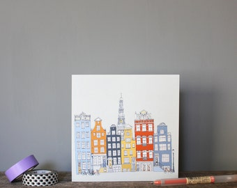 Amsterdam Greetings Card // Recycled Eco Card // Architecture Cityscape