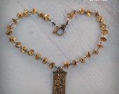 Sekhmet Necklace - Egyptian Necklace - Goddess Necklace - Cat Necklace - Mixed Metal - 24k Gold - Sterling Silver - Pagan - READY To SHIP