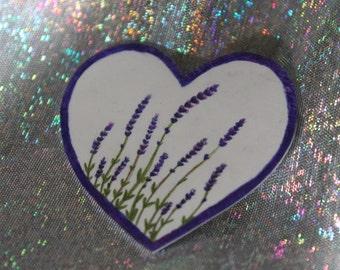 Lavender Heart Brooch, Hand Drawn