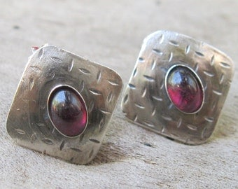 ON SALE - Sterling Earrings with Garnet Accent, hand forged artisan post earrings in sterling silver and garrnet