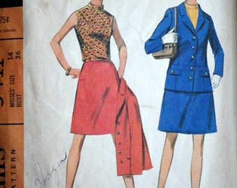 Vintage 60's McCall's 9411 Sewing Pattern, Misses' Suit and Blouse, Size 14, 36 Bust, Mad Men Mod
