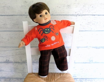 Boy Doll Clothes Halloween Outfit, Tee Shirt and Plaid Pants, 15 inch Doll Outfit