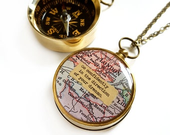 Large London Map Compass Necklace with Go Confidently Quote, Working Compass, Graduation Gift, Brass, Inspirational, Travel, Europe