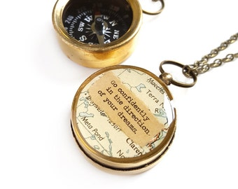 Small Map Compass Necklace, Quote Go Confidently In the Direction Of Your Dreams, Graduation, Thoreau, Positive Inspiration, Working Compass