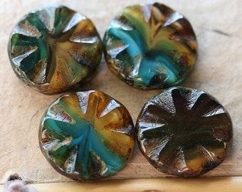 sale .. CLEO .. 4 Premium Picasso Czech Glass Round Window Beads 18mm (4856-4)
