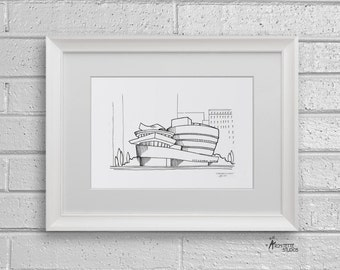 Sketch Series - Guggenheim Museum, New York City - Art Print (5 x 7)