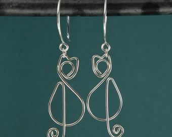 CAT SILVER EARRINGS, sterling silver cat earrings dangle earrings cat lover gift