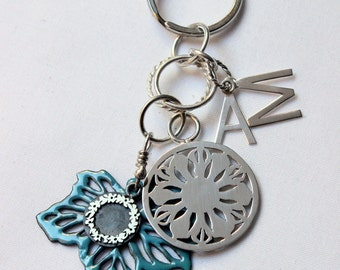 Feminine Keychain, Initials,  Custom made of Sterling silver  and Copper enameled, Nature design