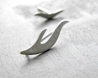 Silver Studs - Ear Climber earrings, earclimber, sterling silver studs, minimalist earrings, asymmetric earrings, made in italy