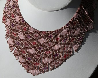 Red pink seed bead necklace, beaded necklace beadwork necklace, handmade original design, brick stitch fringe bib necklace, 15/0 seed beads