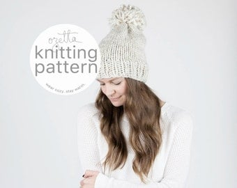 Knitting Pattern / Simple Knit Hat With Pom Pom / The Permafrost Hat / PDF