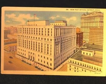 New Post Office Detroit Michigan 1937 Vintage Linen Postcard