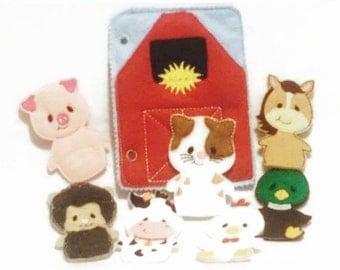 Quiet book page - Barn and finger puppet animal  7 finger puppets farm animals Felt game Activity play set #QB71